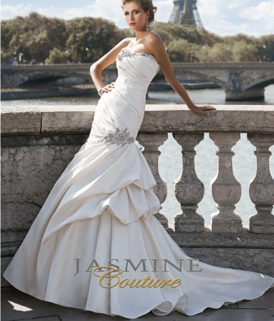 Jasmine Couture Ivory Wedding Dress Size 10 - image 8
