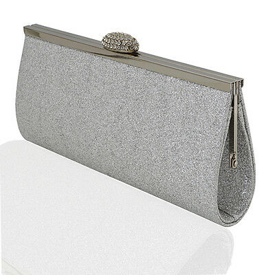 WOMENS EVENING BAGS GLITTER SPARKLY SATIN SILVER WHITE IVORY BRIDAL PROM PARTY