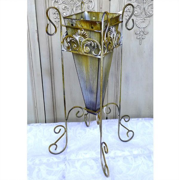 Blumenvase Bodenvase Pflanzgefäß Vase Blumenständer Metall 0944031-a