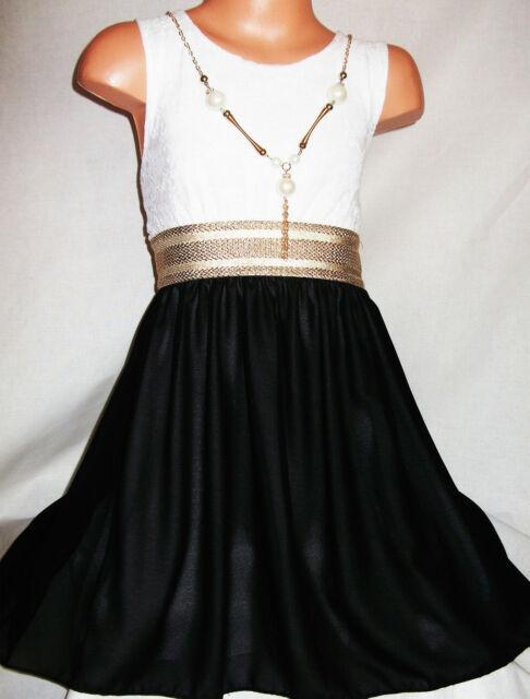 GIRLS BLACK WHITE LACE SILVER TRIM CHIFFON CONTRAST PRINCESS PARTY DRESS age3-4