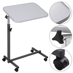 Over The Bed Table With Wheels Adjustable Hospital Home Laptop Tray