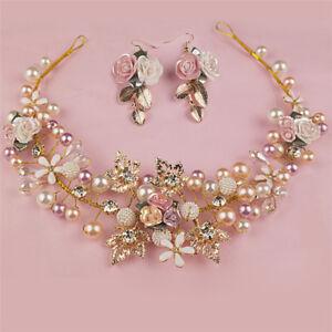 Pearl-Flower-Crystal-Rhinestone-Wedding-Bridal-Headband-Clips-Hair-Band-KW