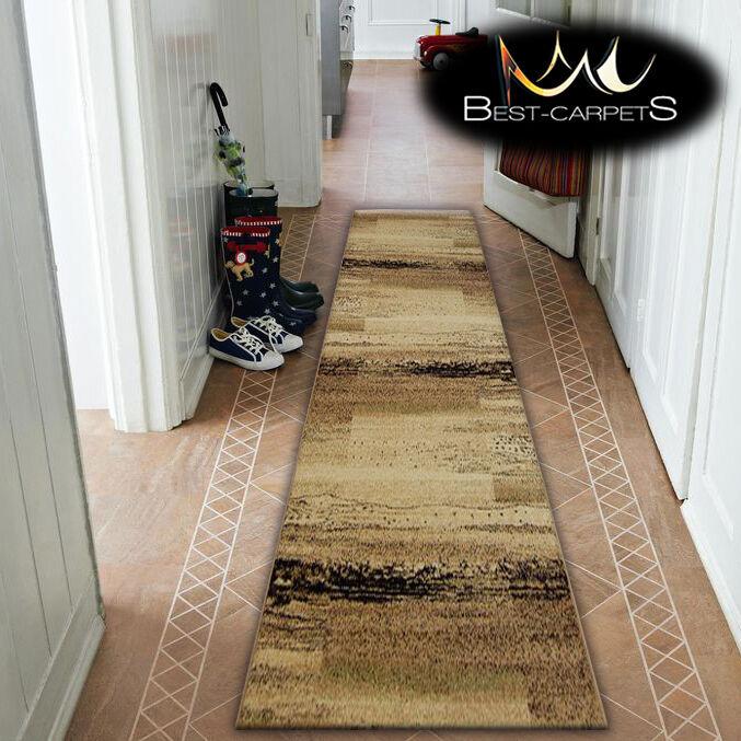 Épais hall runner standard standard runner spinelle beige largeur 70-100cm à rayures extra long tapis 40b1f7