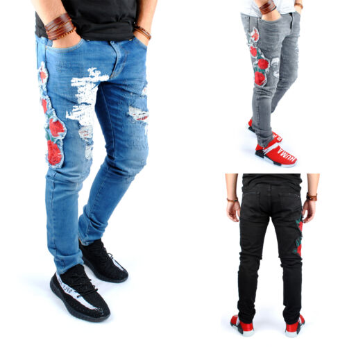 Neu Herren Jeans Blumen Print Denim Jeanshose Slim Fit Skinny 1628 Hose Gr 29-36