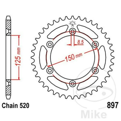 JT Rear Sprocket 53T 520P JTR897.53 Steel KTM SX 380 2T 2000