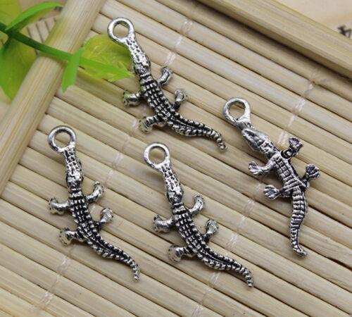 30//60pcs Style Rétro Chinois Alligator Alliage Charms Pendentifs À faire soi-même 28 x 10 mm
