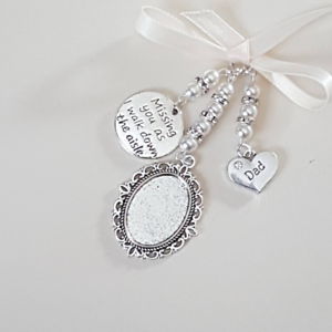 Wedding-bouquet-charm-silver-oval-locket-034-missing-you-as-I-walk-034-amp-034-dad-034