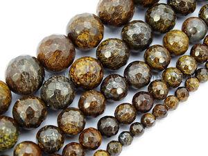 Natural-Bronzite-Jasper-Gemstone-Faceted-Round-Beads-15-034-4mm-6mm-8mm-10mm-12mm
