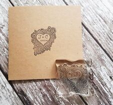 """WEDDING STAMP, PERSONALISED BESPOKE INITIALS & DATE 2"""" or 50mm heart"""