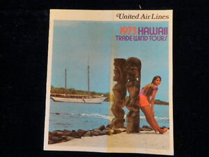 Vintage 1973 United Airlines HAWAII Trade Wind Tours Travel Brochure + Rates R76