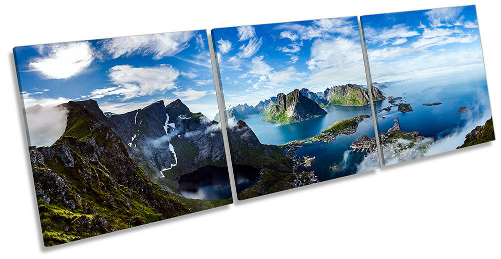 Mountains Norway Landscape Framed CANVAS PRINT Triple Wall Art