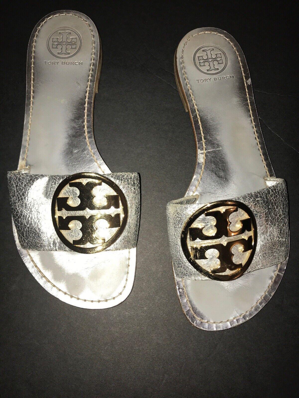 Tory Burch Aerin Metallic silver läder Logo Slide Slide Slide Sandals Storlek 8.5 M  den bästa after-sales-tjänsten