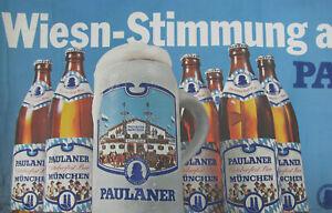 1960s-GERMAN-BEER-PAULANER-OKTOBERFEST-POSTER-11x31-in-MUNCHEN-BIER-vintage