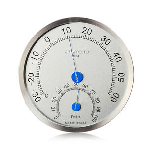 Image Is Loading Stainless Steel Case Thermometer Hygrometer Indoor House  Outdoor