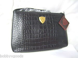 c9793fee682e BLAINE TRUMP CROCO EMBOSSED BLACK LEATHER SHOULDER BAG PURSE HANDBAG ...