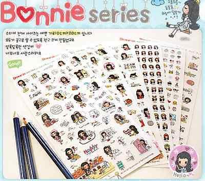 Korea Diary Book  Decoration Sticker Bonnie Series wannathis Season 1(6 sheets)