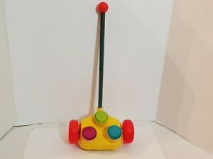Vintage-Fisher-Price-Push-Toys-Pop-Up-Music-Happy-Hoppers-Handle-Wheels-Toddler