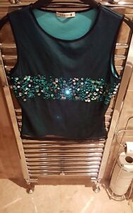 Ladies-turquoise-top-with-black-mesh-attached-from-George-Size-12-Worn