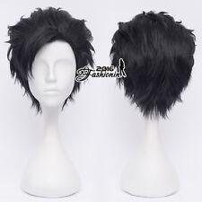 30CM Black Layered Short Men Fashion Hair Cosplay Wig Heat Resistant+Wig Cap