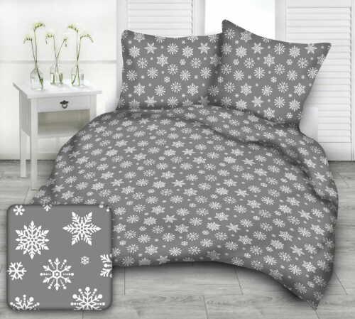 Bettwäsche WEIHNACHTS 135x200cm Weihnachtsbettwäsche Schneeflocken auf grau
