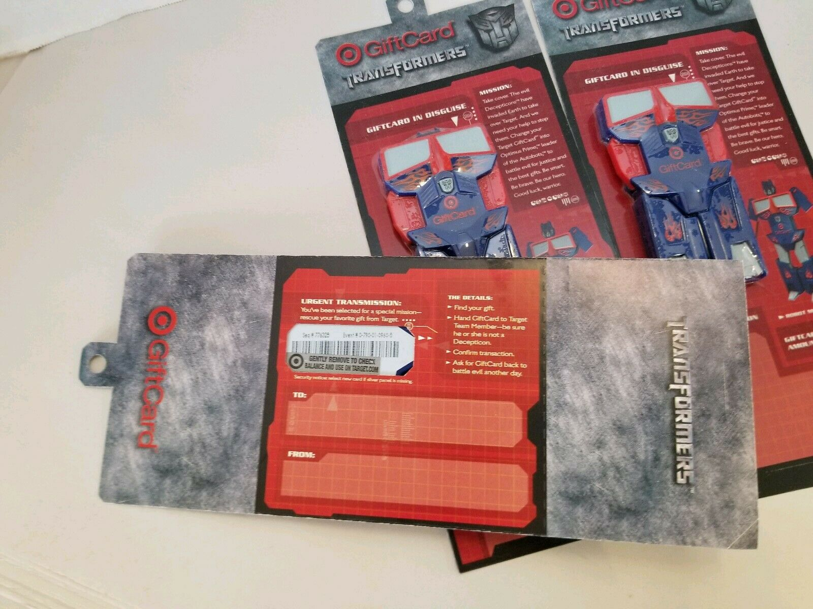 Set Of 3 (2007) Target Transformers Optimus Gift Card, Unused, Unused, Unused, Sealed W  Hangtag 4d87c8