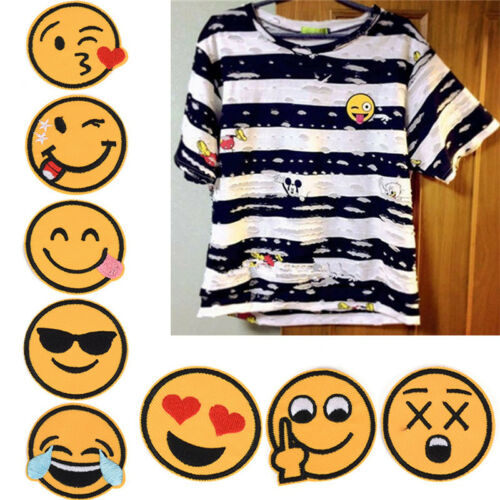8Pcs Funny Smile Face Diy Applique Embroidered Sew Iron On Patch JD