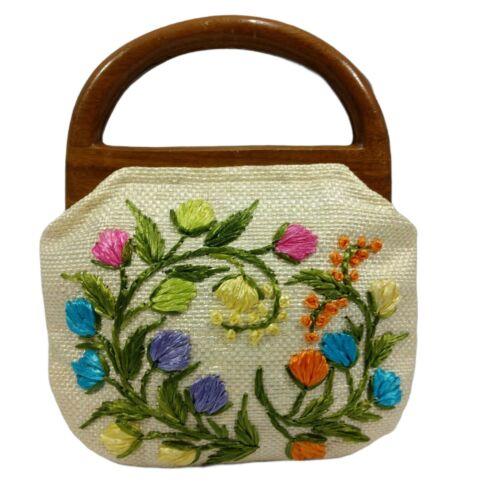 Vintage 60s Raffia Handbag Floral Print Top Handl… - image 1