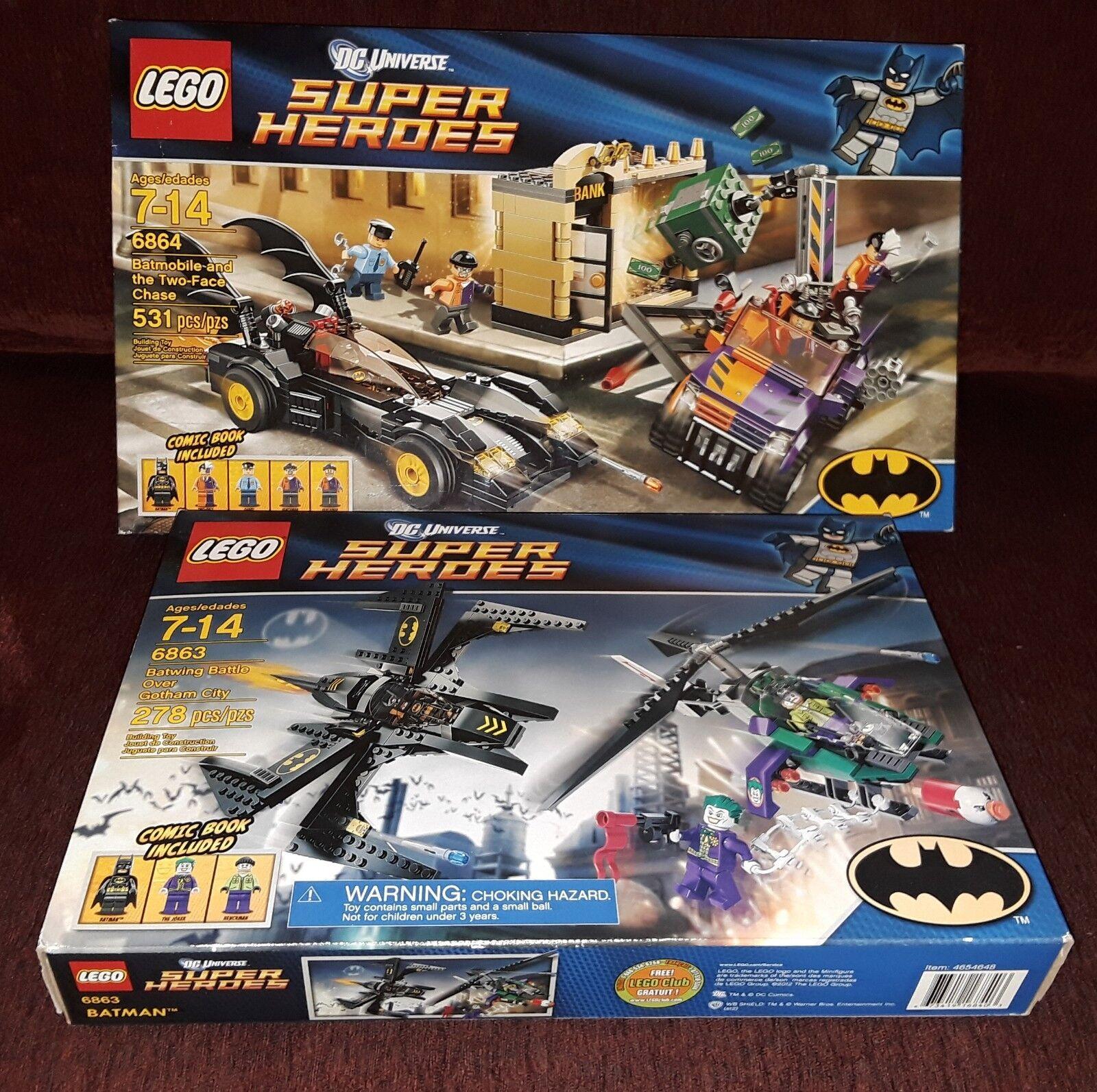LEGO DC BATMAN JOKER 6864 Batmobile BATWING gotham city Two-Face Chase RARE  ✔