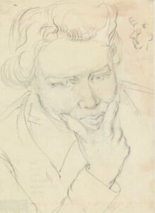 Peter Collins ARCA - c.1970s Graphite Drawing, Portrait of a Woman