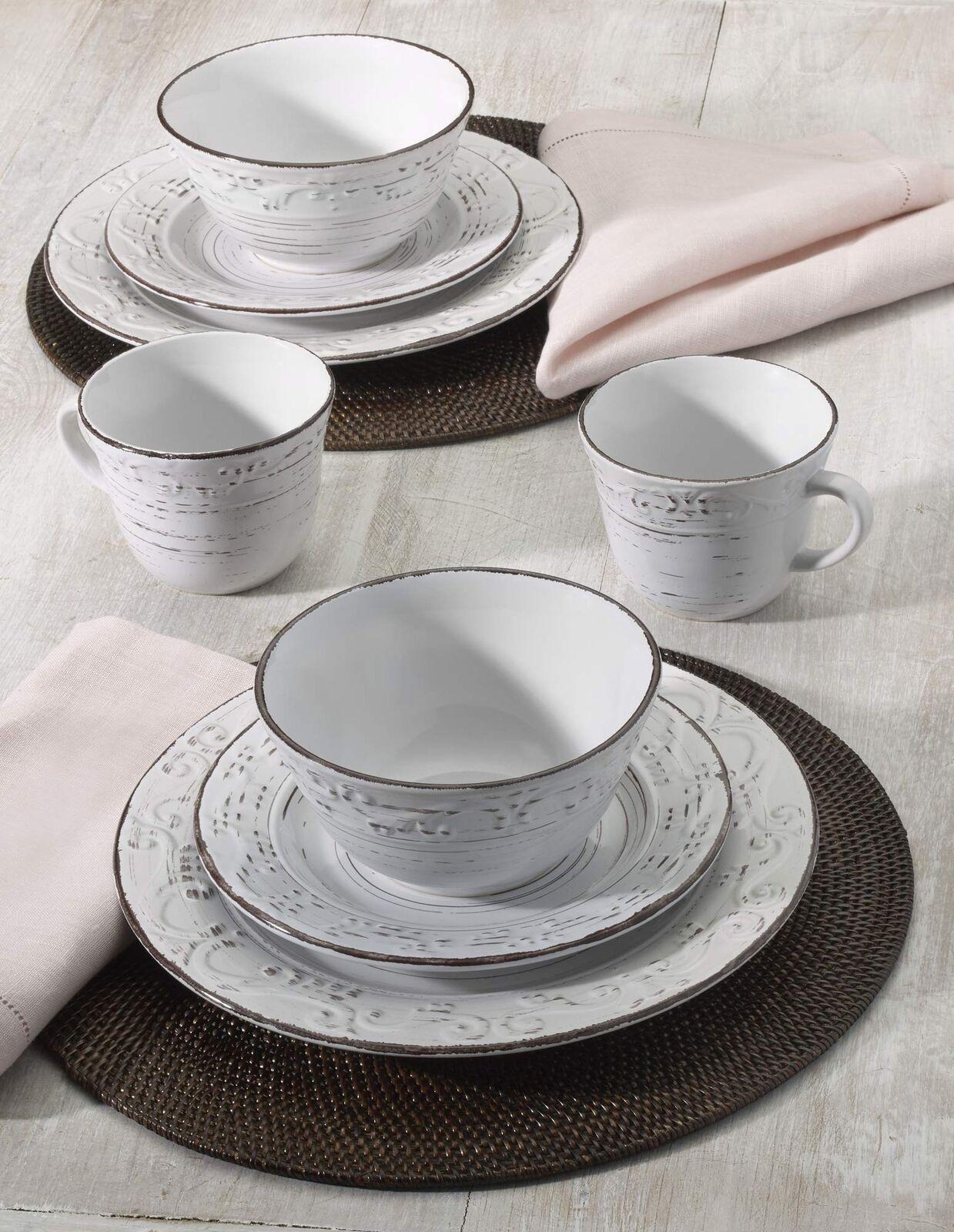 Plate Set Trellis White 16 Piece Dinnerware Set Service Design for 4 Brown Box