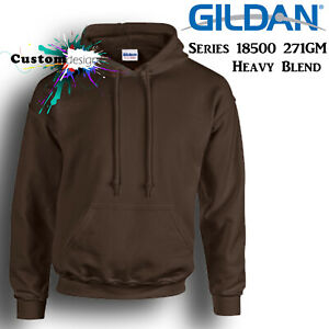 Gildan-Dark-Chocolate-Hoodie-Heavy-Blend-Basic-Hooded-Sweat-Sweater-Mens