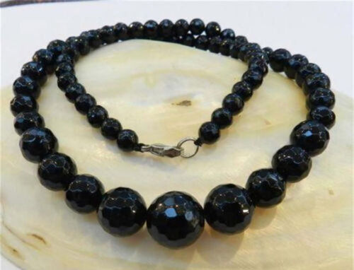 """AA 6-14mm Faceted Black Agate Round Onyx Gems Beads Necklace 18/"""""""