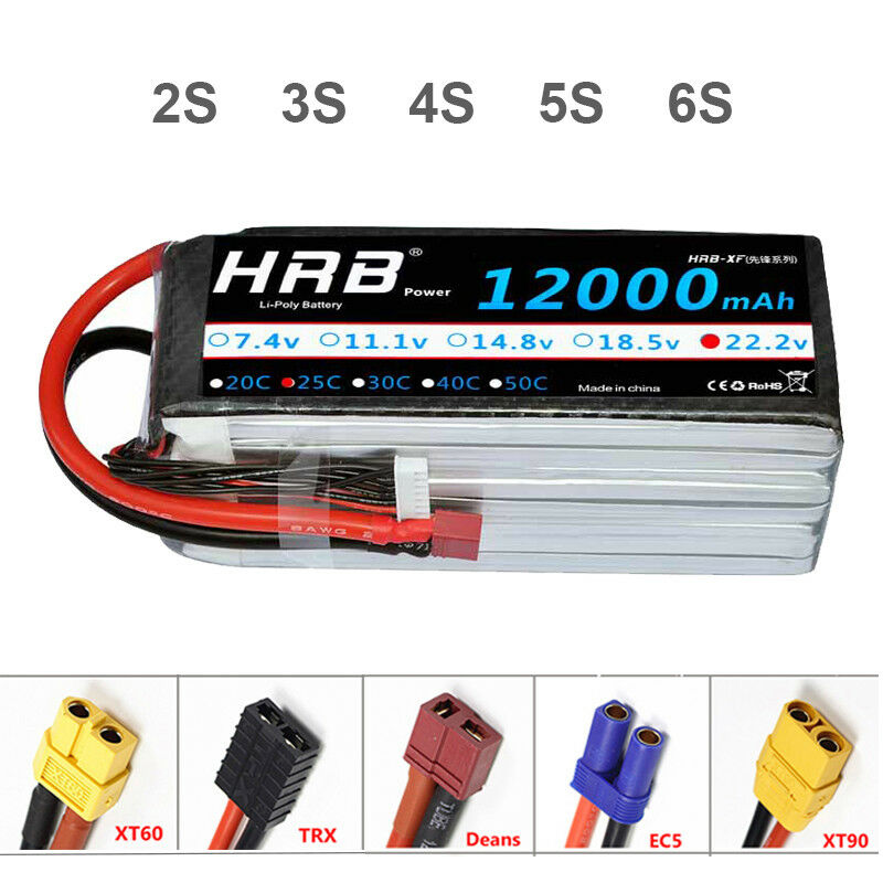 HRB 2S 3S 4S 5S 5S 5S 6S 12000mAh Lipo Battery 25C 50C for RC Drone Airplane DJI Car cc0310
