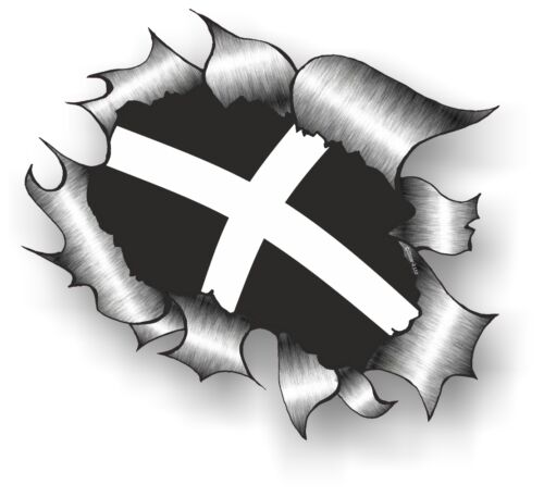 LARGE CLASSIC Ripped Torn Metal /& Cornwall Cornish St Pirans Flag car sticker