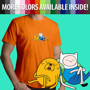 Adventure-Time-Finn-Jake-Napping-Sleep-Cartoon-Unisex-Mens-Tee-Crew-Neck-T-Shirt