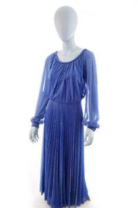 Vintage orig 70s Disco Abendkleid lang blau Glitzer ...