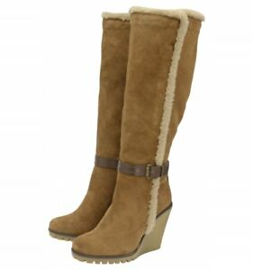 Winter Uk Knee Suede High Leather Boots Ravel Wedge Ladies 7 Evergreen Tan xq64BnU1
