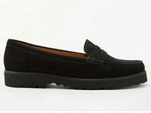BNWD FRED PERRY women's black suede classic penny loafers w/ rubber soles szUS8
