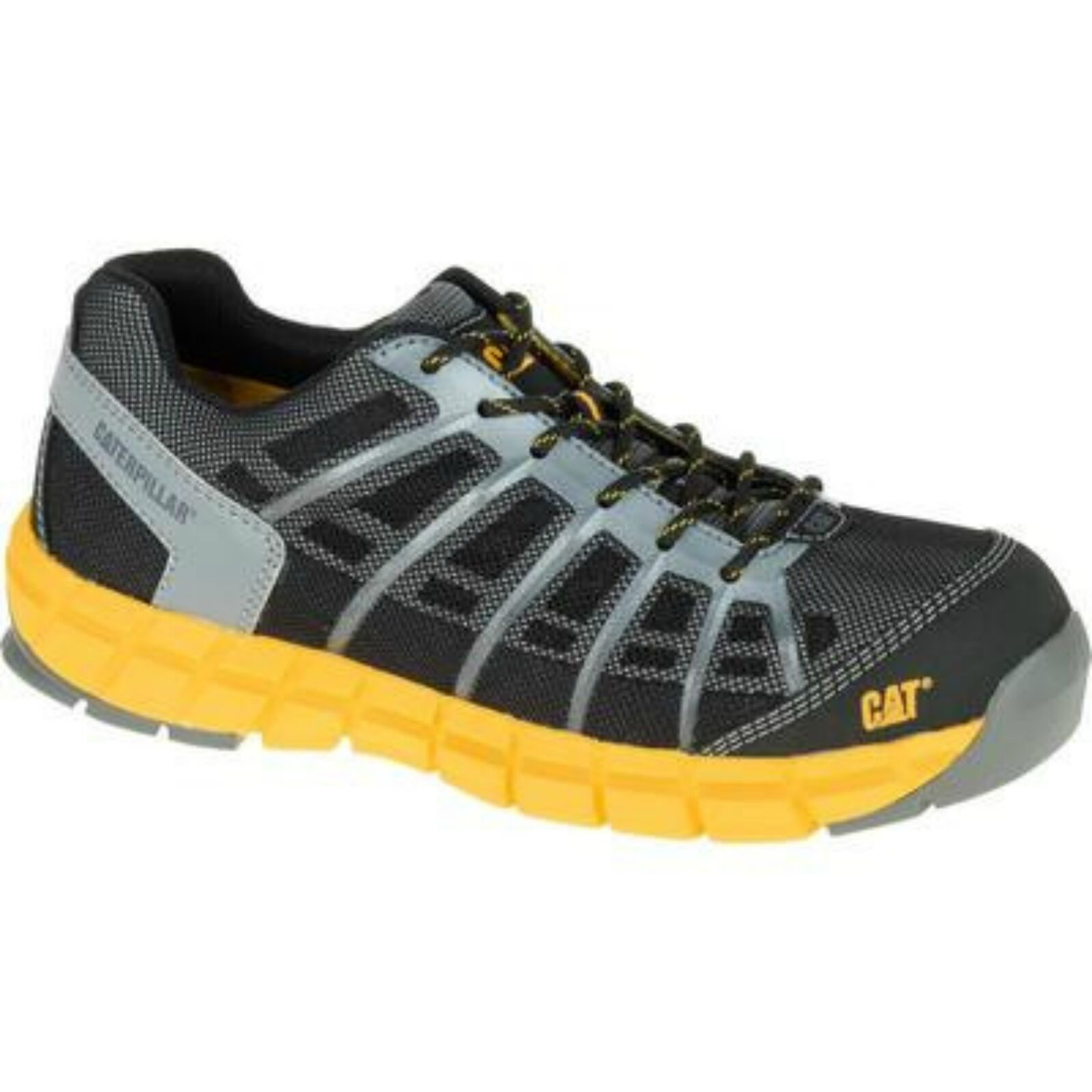 Caterpillar CAT hommes Flex Comp Toe Work Chaussures noir Yellow NEW