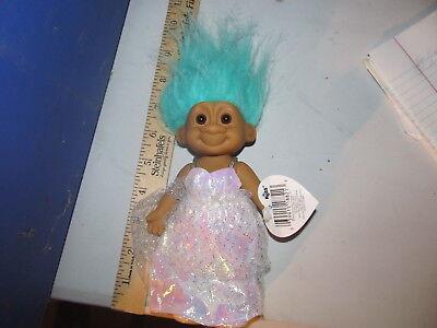 Russ Trolls 7 inch Tracey white Evening Gown Troll blue hair