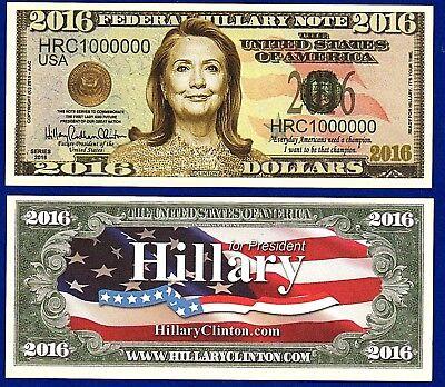 E3 10 Hillary Clinton 2016 Presidential Dollar Bills Collectible-Democrat