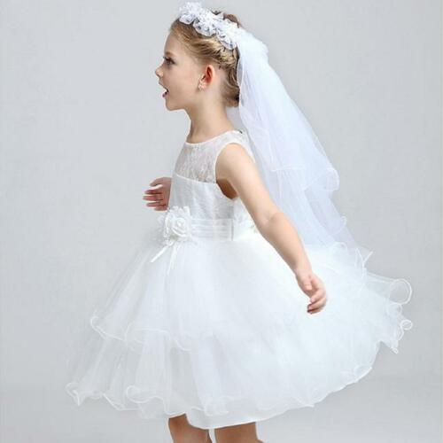 Baby Kids Flower Girl Lace Wedding Bride Maid Garland Hair Headband Veil LC