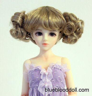 "1//6 1//4 bjd 6-7/"" doll head brown curly wig YOSD Luts dollfie iplehouse W-182S"