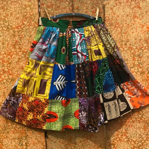 Full Skirt African Wax Print Skirt Dashiki Patchwo
