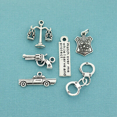 COL063 Police Charm Collection Antique Silver Tone 6 Different Charms