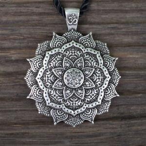 Details About Necklace Om Mandala Pendant Silver Buddha Tibetan Healing Lotus Flower Buddhist