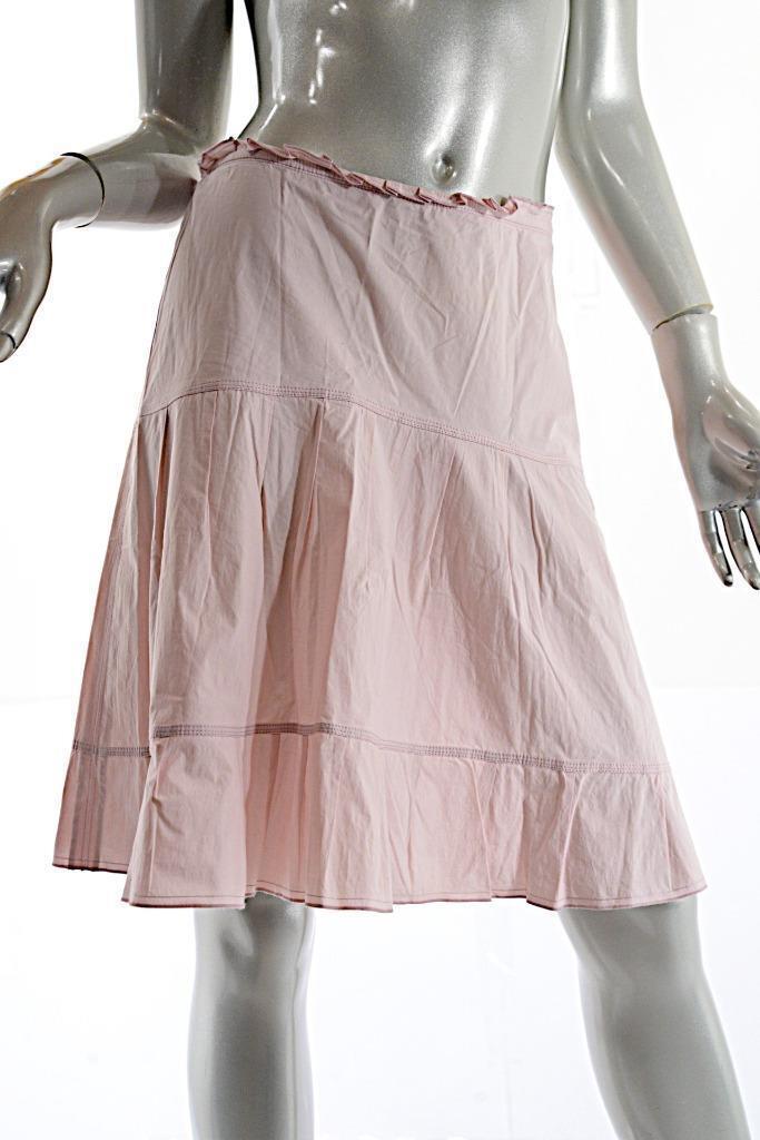 JIL SANDER purplec Silk Blend A-Line Ruffle Skirt with Side Seam Zipper  Sz 36 US6