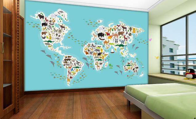 3D Animals Map 469 Wallpaper Murals Wall Print Wallpaper Mural AJ WALL AU Lemon