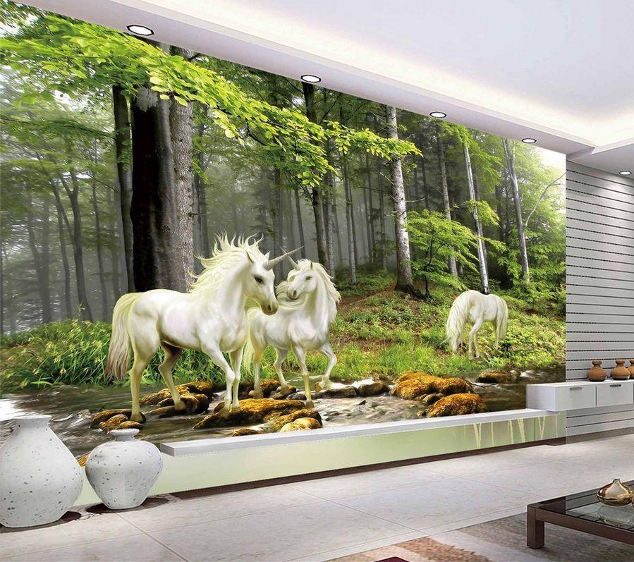 3D Mega Forest River Unicorns537 Wall Paper Wall Print Decal Wall AJ Wall Paper