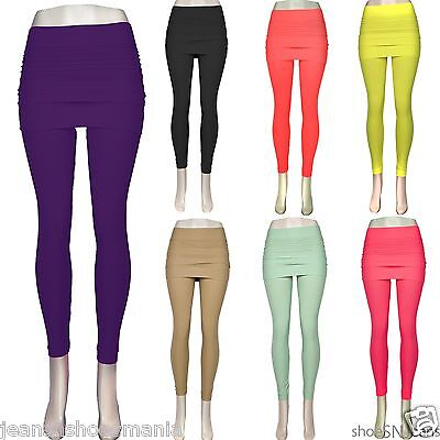 New Fashion Layered Skirt Legging Footless Stretch Seamless Solid Colors Spandex